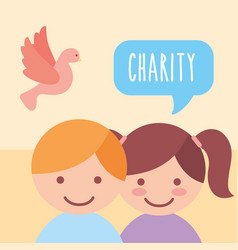 cute boy and girl pigeon donate charity vector image