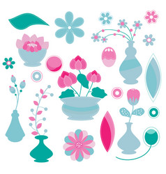 cute flowers pattern and pots on white background vector image