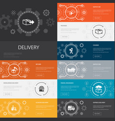 delivery infographic 10 line icons bannersreturn vector image