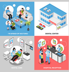 Dental center 2x2 isometric design concept vector