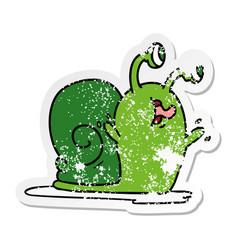 Distressed sticker cartoon a slimy snail vector