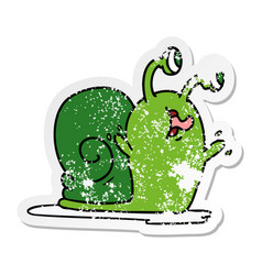 Distressed sticker cartoon of a slimy snail vector
