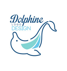 Dolphine logo template nautical design element in vector