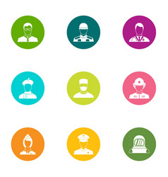 Experienced people icons set flat style vector