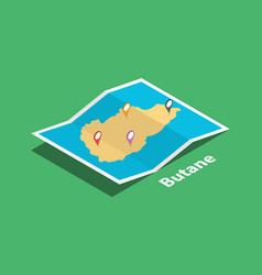 Explore butane maps with isometric style and pin vector