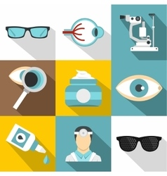 Eyes icons set flat style vector