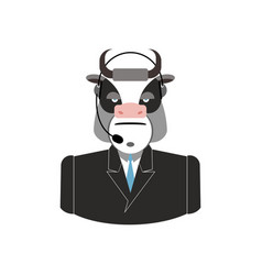 farm call center cow with headset bull feedback vector image