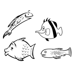 Fish collection outline vector