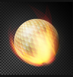 Flaming realistic golf ball on fire flying through vector