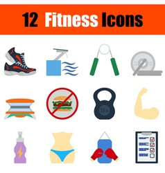 Flat design fitness icon set vector image