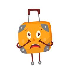 Flat travel bag suitcase character afraid vector