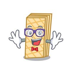 Geek waffle character cartoon style vector