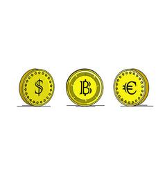 gold coins dollar euro and bitcoin vector image