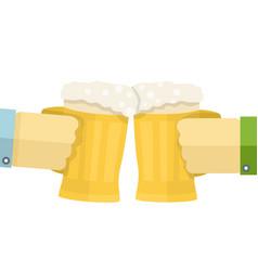 hands holding big mug cheers vector image