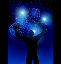 happy male figure with fireworks vector image