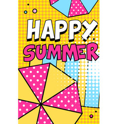 happy summer banner bright retro pop art style vector image