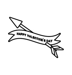 Happy valentines day card heart arrow outline vector