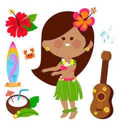hawaiian hula dancing girl vector image