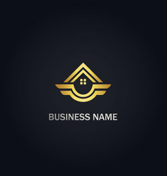 Home realty emblem wing logo vector