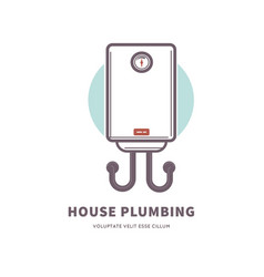 House plumbing commercial poster with gas water vector