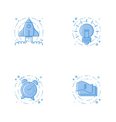 Icons with rocket bulb alarm clock and cash vector