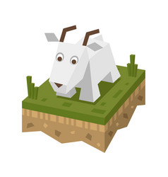 Isometric flat white goat on the tile of ground vector
