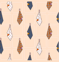 Kitchen towels hanging on hook seamless vector