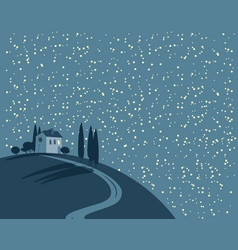 landscape with a village on a hill at night vector image