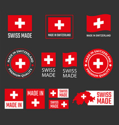 Made in switzerland labels set swiss product vector
