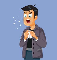 Man sneezing feeling sick with flu symptoms vector