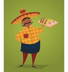 Mexican chef with tacos cartoon character vector image
