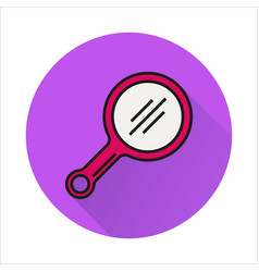 mirror line simple icon on circle background vector image