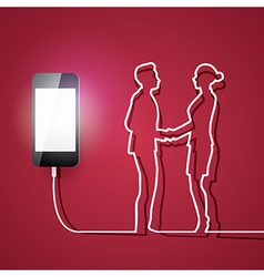 Mobile phone with charger man and woman connection vector image