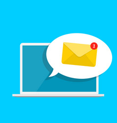 new email on the laptop screen notification vector image