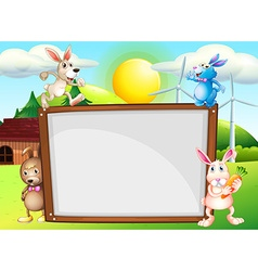 Paper template with rabbits in background vector image