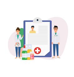 patient card healthy diagnosis healthcare flat vector image
