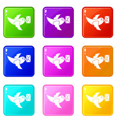 Pigeon fly with mail set 9 vector