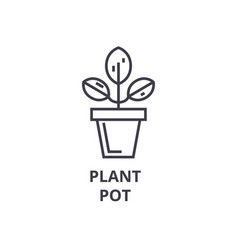 plant pot line icon outline sign linear symbol vector image