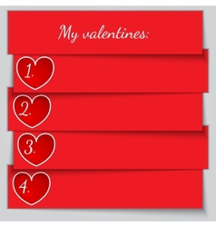 Red paper enumerated valentine list vector