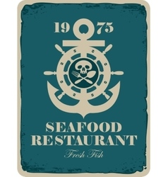 Retro banner for a seafood restaurant vector