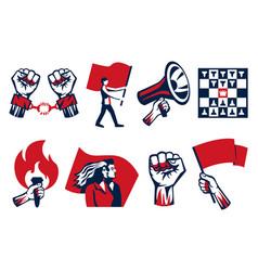 Revolution symbols horizontal set vector