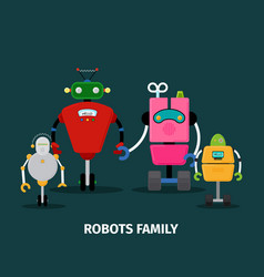 Robots family with kids vector