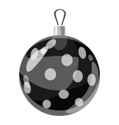 Round christmas ball icon gray monochrome style vector
