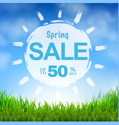 sale banner blue sky and grass vector image