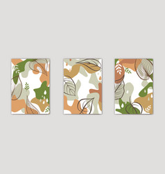 set autumn floral design floral seamless vector image
