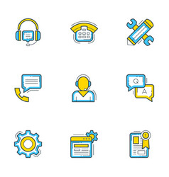 set of 9 flat line business icons help andf vector image