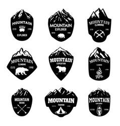 Set of mountain tourism hiking emblems design vector