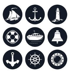 Set of Round Marine Icons vector image