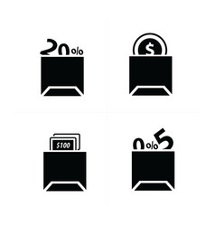 Shopping bags set and price icon vector