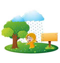 Sign template with girl in yellow raincoat vector